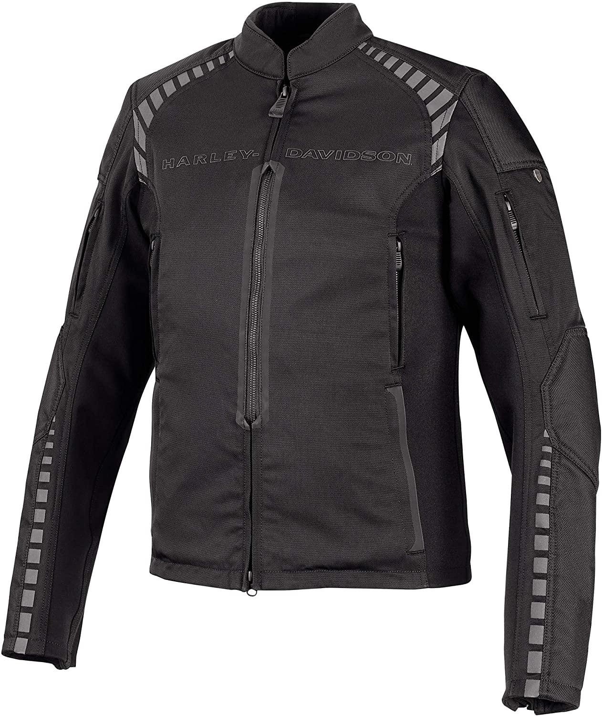 Harley-Davidson Men's Geyser Stretch Slim Fit Riding Jacket, Black