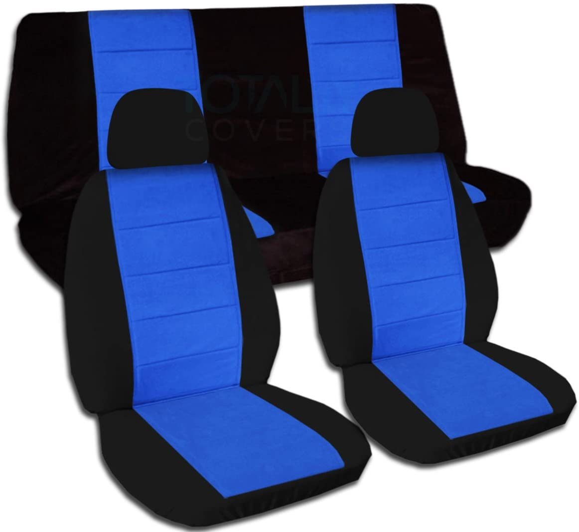 Totally Covers Two-Tone Car Seat Covers w 2 Front Headrest Covers: Black & Blue - Semi-Custom Fit - Full Set - Will Make Fit Any Car/Truck/Van/RV/SUV (21 Colors)