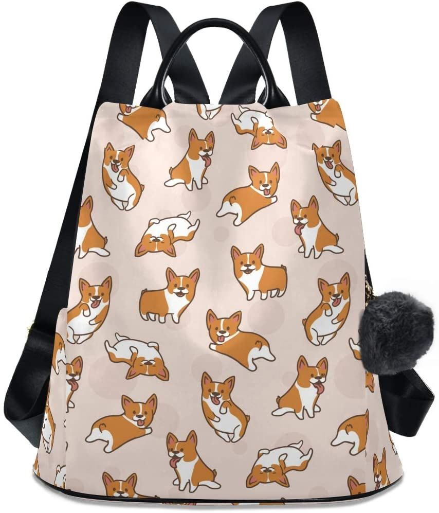 ALAZA Cute Little Corgi Pattern Backpack with Keychain for Woman Ladies