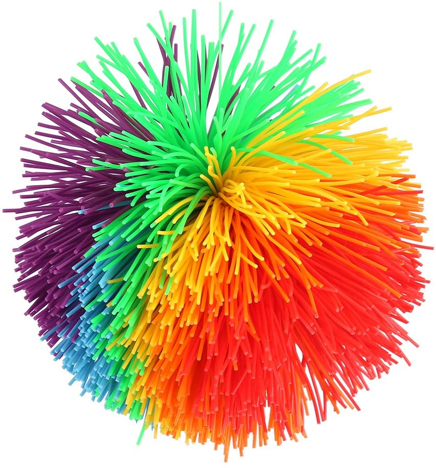 VGEBY1 Stress Relief Toy, Rainbow Fluffy Juggling Ball Sensory Stress Toys for Stress Relief