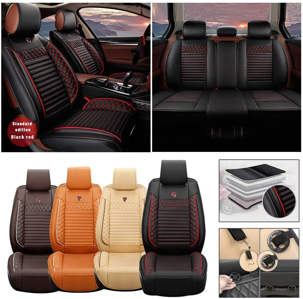 Full Set Car Seat Cover for Dodge RAM 5-Seat (Airbag Compatible) PU Leatherette Car Seat Cushions Protector (Black)