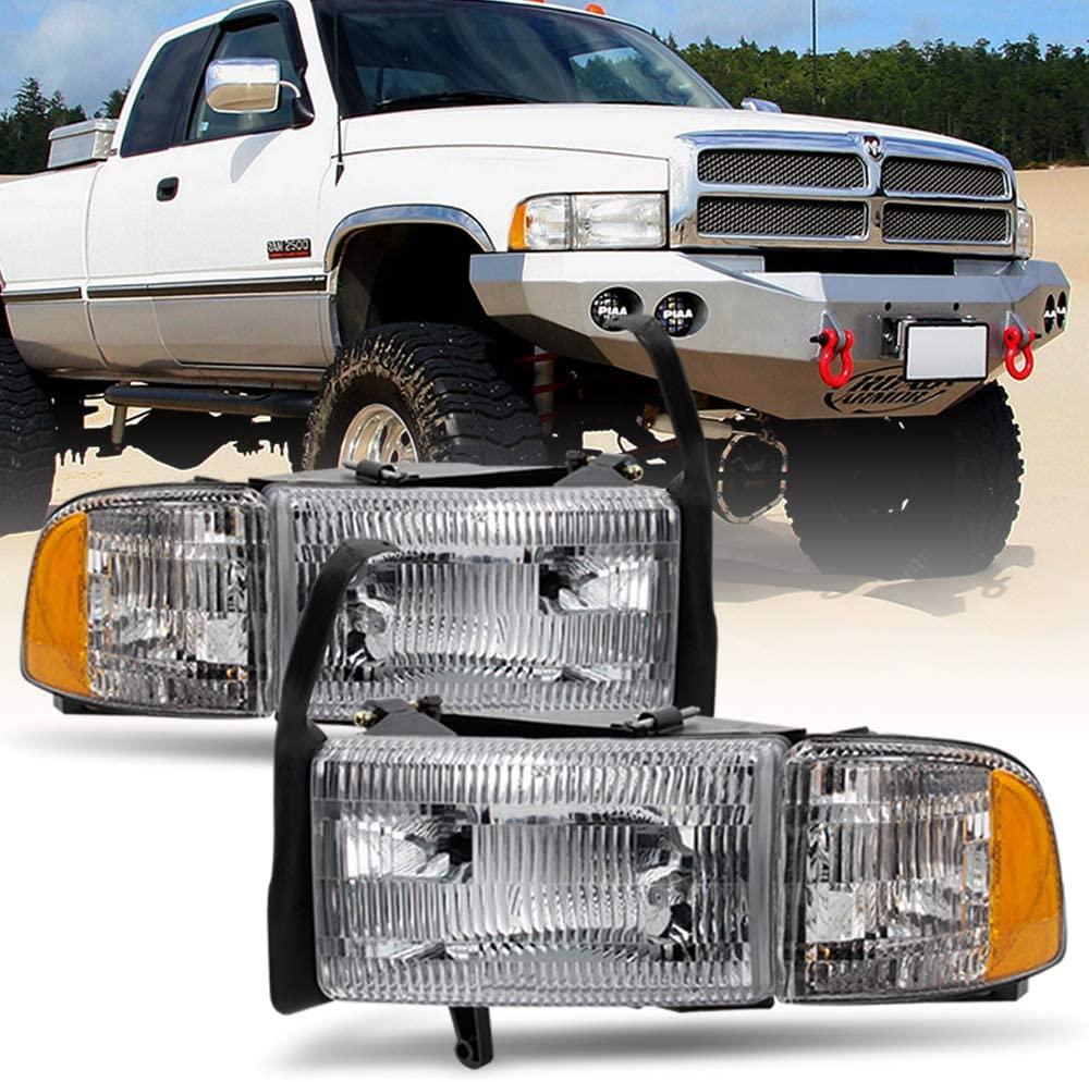 ACANII - For 1994-2001 Dodge Ram 1500 2500 3500 Truck Headlights Headlamps w/Signal Corner Lamps Driver + Passenger Side