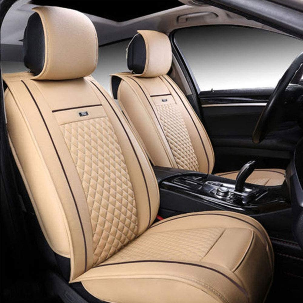Muchkey Seat Covers fit for Nissan 5-Seat Full Set Car Seat Covers Waterproof Ultra Comfort Leatherette Protector Without headrest and backrest Pillows Beige