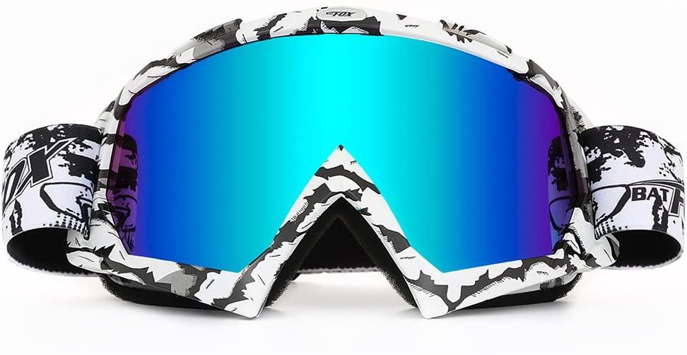 BATFOX Motorcycle Goggles Dirt Bike ATV Motocross Safety ATV Tactical Riding Motorbike Glasses Goggles for Men Women Youth Fit Over Glasses UV400 Protection Shatterproof (Black&white)