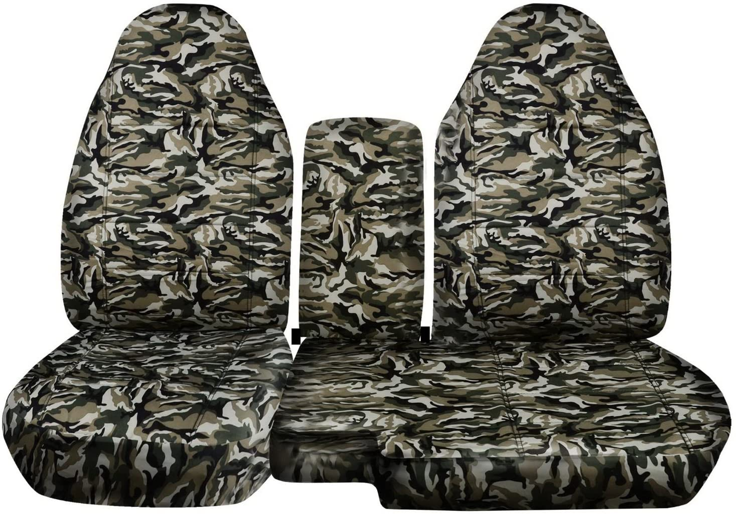 Totally Covers Compatible with 2004-2012 Chevy Colorado/GMC Canyon Camo Truck Seat Covers (Front 60/40 Bench) w Console/Armrest: Beige & Green Camouflage (16 Prints) Chevrolet