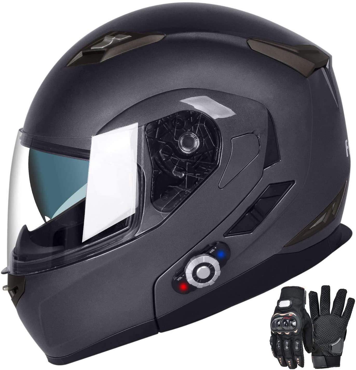 Motorcycle Bluetooth Helmets, FreedConn Flip up Dual Visors Full Face Helmet,Built-in Integrated Intercom Communication System(Range 500M,2-3Riders Pairing,FM radio,Waterproof,L,Gray)