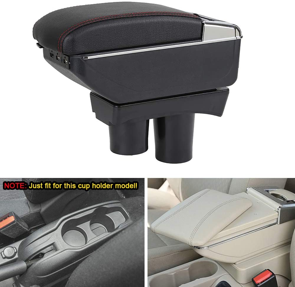 MyGone Center Console Armrest Box for VW Volkswagen Bora Golf 4, Car Interior Accessories Leather Arm Rest Organizer with Adjustable Cup Holder Removable Ashtray Beige