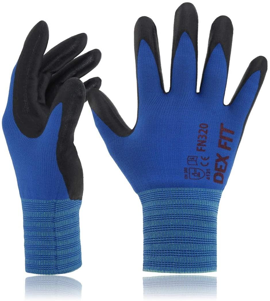 DEX FIT Gardening Gloves FN320, 3D Comfort Stretch Fit, Power Grip, Durable Foam Nitrile Coated, Thin & Lightweight Premium Nylon, Machine Washable, Blue Medium 3 Pairs