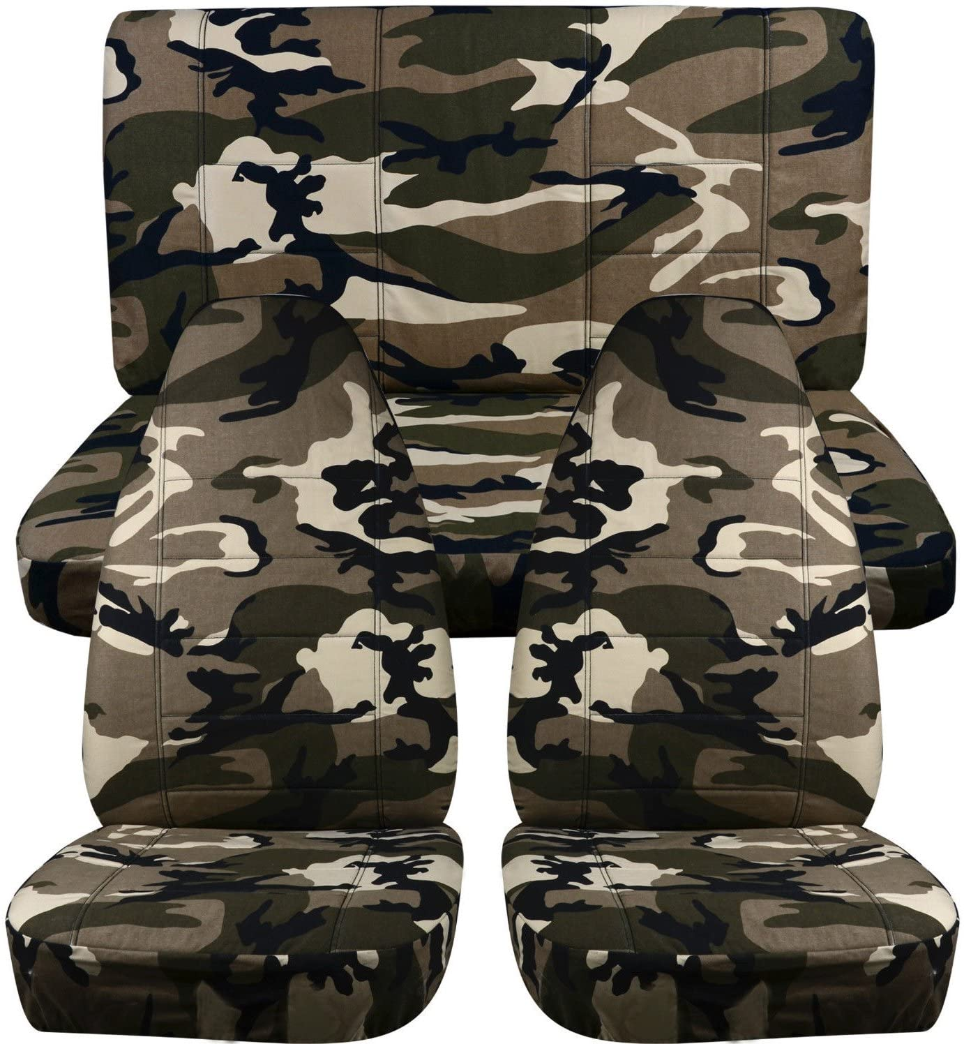 Totally Covers Compatible with 1997-2006 Jeep Wrangler TJ Camo Seat Covers: Tan & Beige Camouflage - Full Set: Front & Rear (19 Prints) 2-Door Complete Back Bench