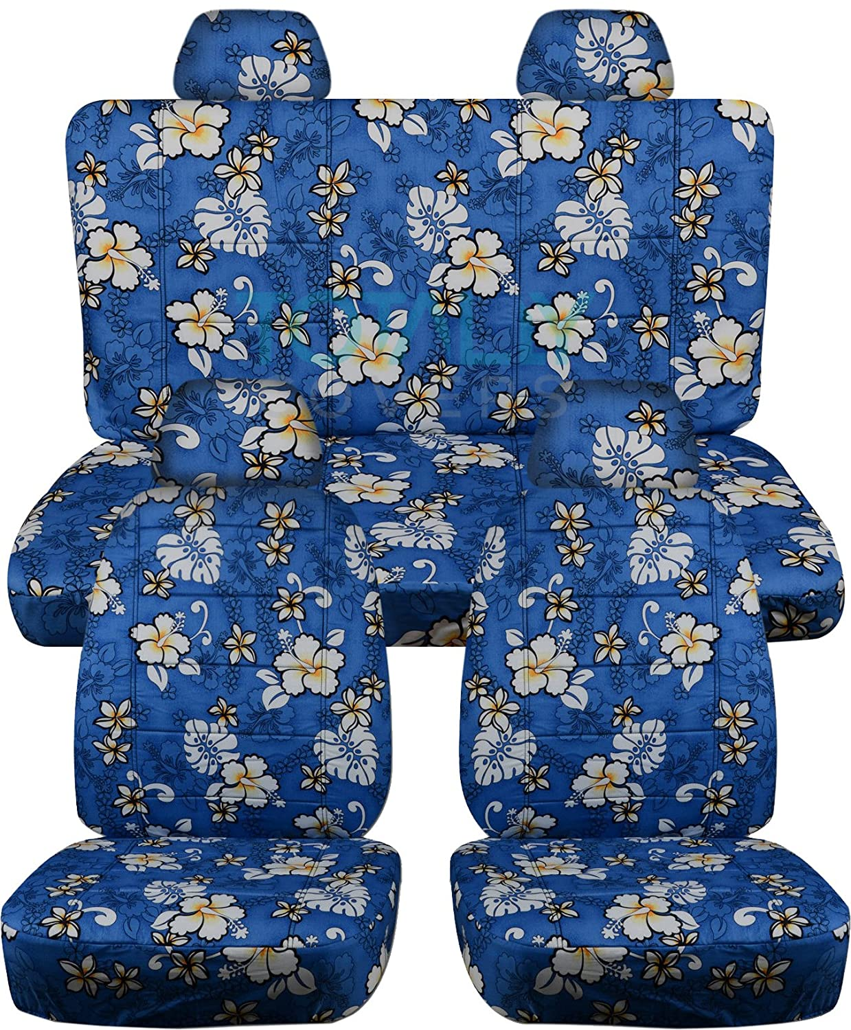 Totally Covers Compatible with 1998-2011 Volkswagen New Beetle/Bug Hawaiian Seat Covers: Blue w Flowers - Full Set Front & Rear (4 Prints) VW