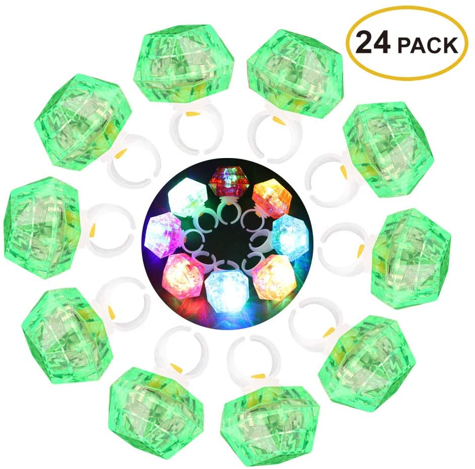 Leobee Flashing Led Light up Rings Toys, Colorful Blinking Bumpy Rings for Birthday Bachelorette Bridal Shower Gatsby Party Favors, Green Case 24 Pack