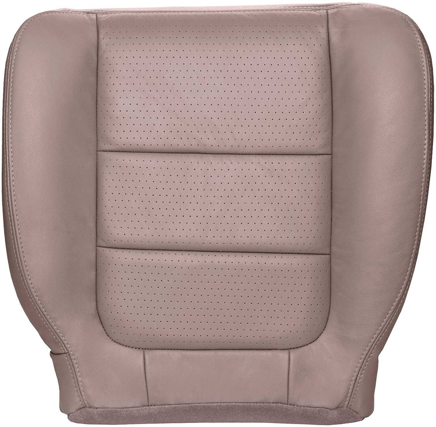 The Seat Shop Passenger Bottom Replacement Perforated Leather Seat Cover - Medium Parchment Tan (Compatible with 2001-2003 Ford F250 and F350 Super Duty Lariat Extended Cab)