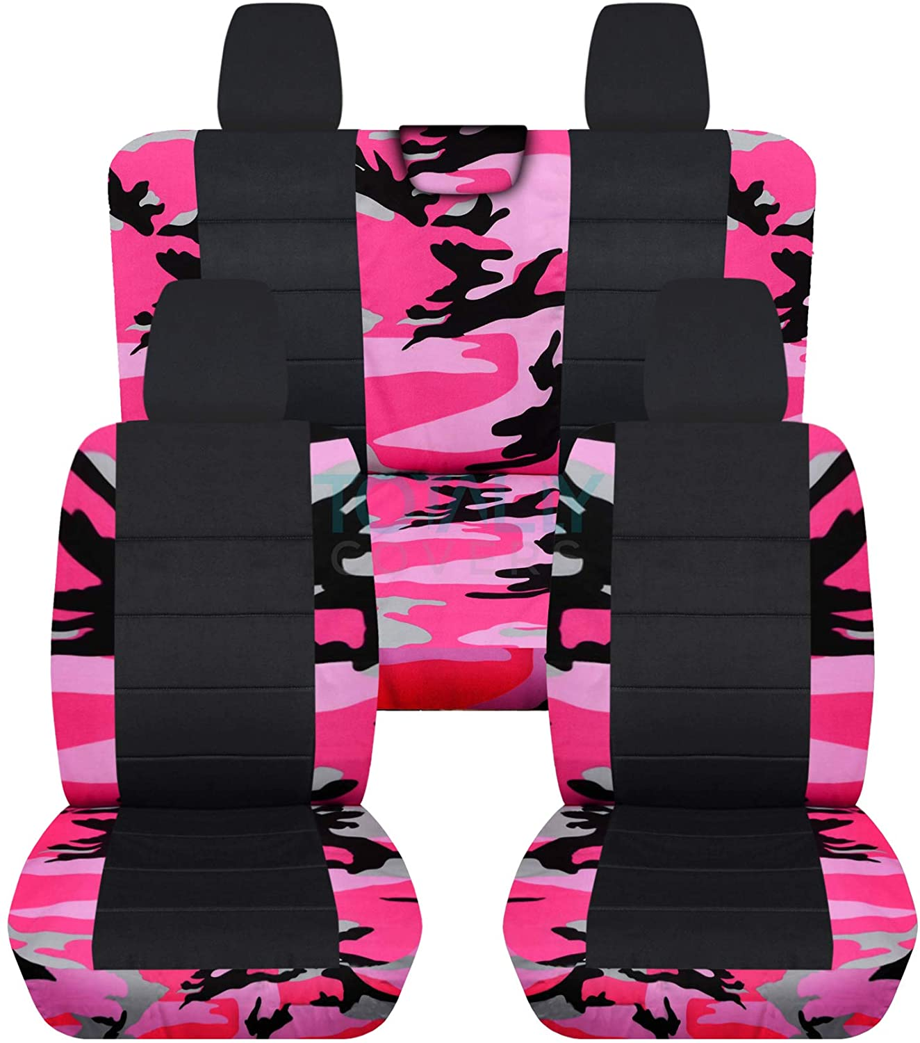 Totally Covers Compatible with 2018-2020 Jeep Wrangler JL Camo & Black Seat Covers: Pink Camouflage - Full Set: Front & Rear (19 Prints) 2-Door/4-Door Solid/Split Bench Back w/wo Armrest/Headrest