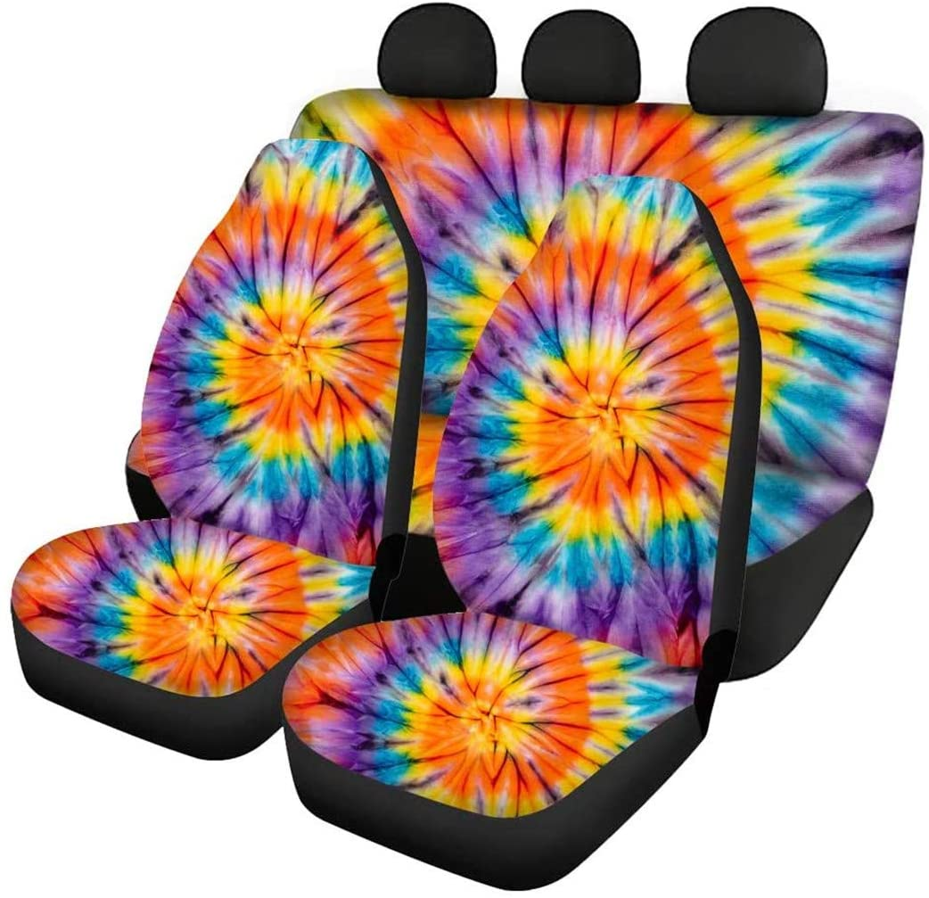 UZZUHI Tie Dye Swil Rainbow Cars Front Seat Covers Machine Washable + High Back Seat Cover Split Bench Easy to Clean Set of 4 Universal Fits for Most Car