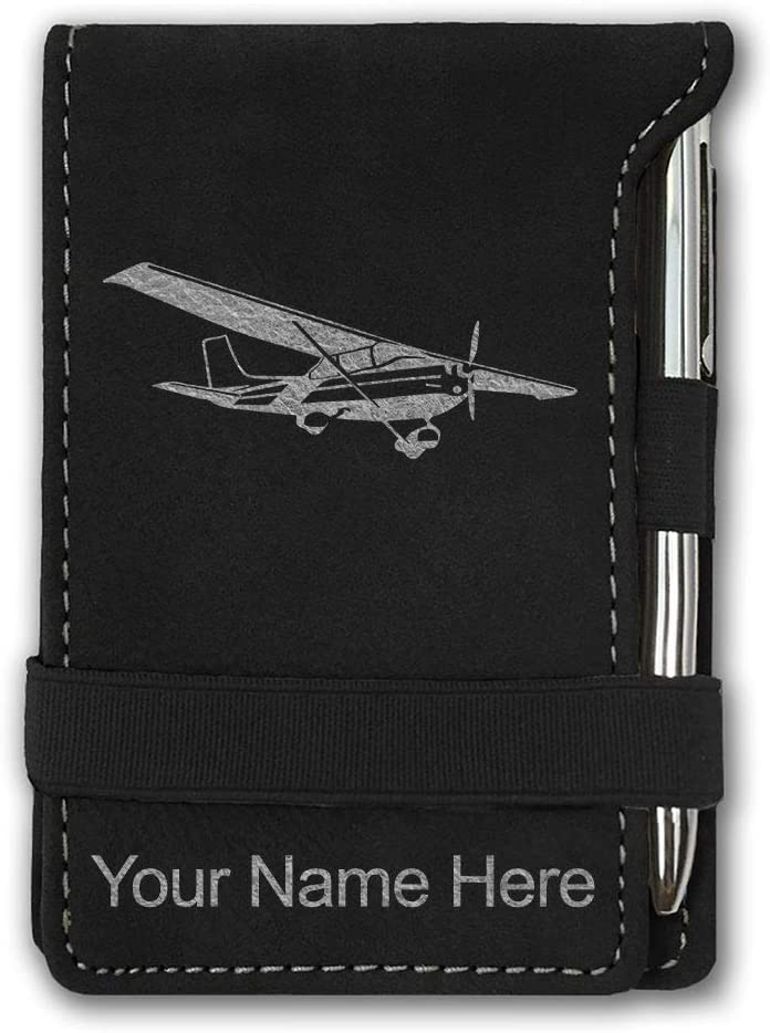 Mini Notepad, High Wing Airplane, Personalized Engraving Included (Black with Silver)