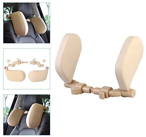 Car Side Headrest Pillow For Honda Accord Avancier Brio City Civic Clarity Concept Crider Cr-V Cr-z Spirior Vezel Head Neck Support Detachable Travel Sleeping Protection Headrest Leather Creamy White