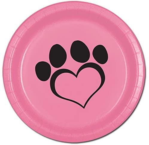 Partypro Dog Love Pink Dinner Plate(8/PKG)