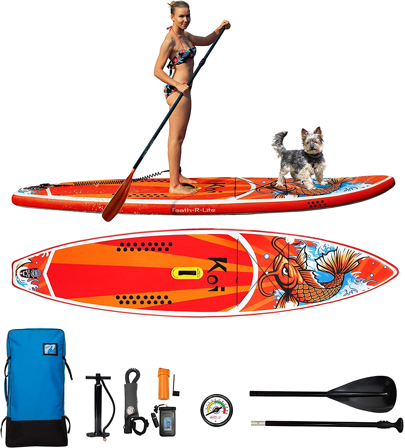 FAYEAN Inflatable Stand Up Paddle Board Cruise Thick Includes Pump, Paddle, Backpack, Coil Leash,Fin and Universal Waterproof Case