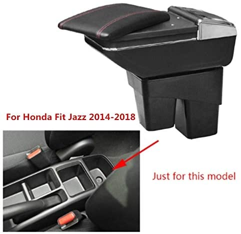 SENYAZON Seat Armrest for Honda Fit Jazz 2014 2015 2016 2017 2018 Armrest Box Central Console Arm Rest Box Cup Holder Ashtray Car Styling (Beige)