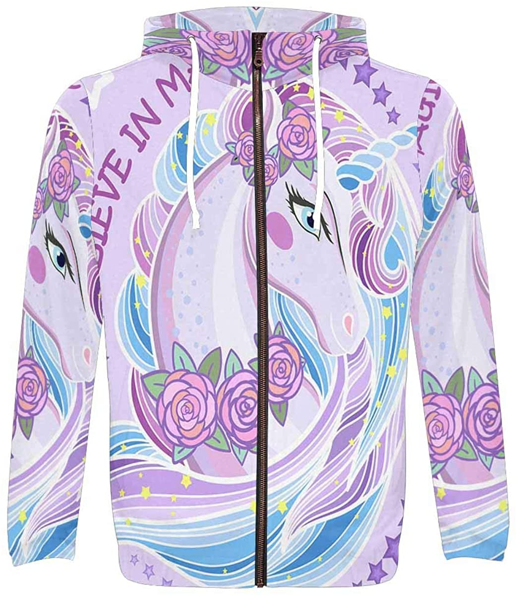 InterestPrint Mens Lightweight Full Zip Hoodie Beautiful Magic Unicorn with Roses
