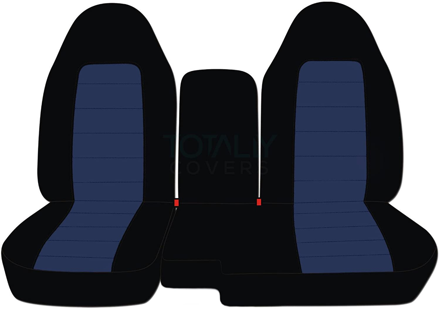 Totally Covers Compatible with 2004-2012 Ford Ranger/Mazda B-Series Two-Tone Truck Seat Covers (60/40 Split Bench) w Center Armrest/Console Cover: Black & Navy Blue (21 Colors)