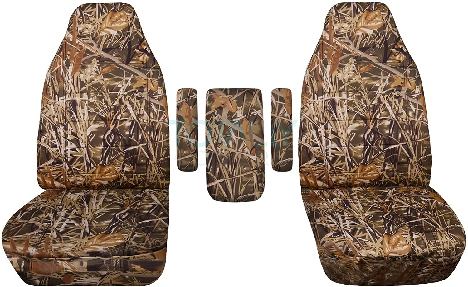 Totally Covers Compatible with 1999-2001 Ford F-150 F-250 F-350 Camo Truck Captains Chairs Seat Covers w 3 Armrest Covers (1 per Seat + Center): Wetland Camouflage (16 Prints) F-Series F150 F250 F350