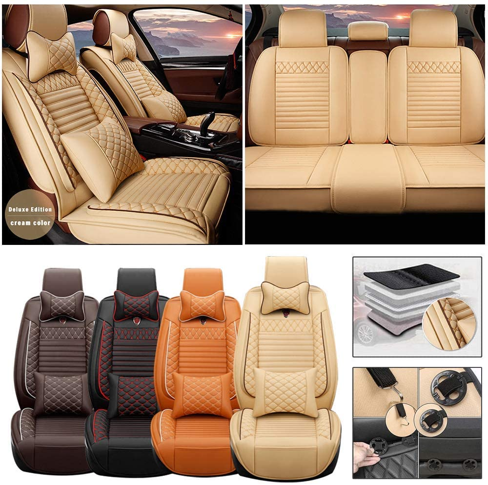 Full Set Car Seat Cover for Dodge RAM 1500 2500 (Airbag Compatible) Luxury PU Leatherette Car Seat Cushions Protector (Beige)