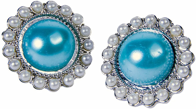 Forum Novelties Women's 50S Round Earrings-Teal, Sky Blue, Standard, Multicolor