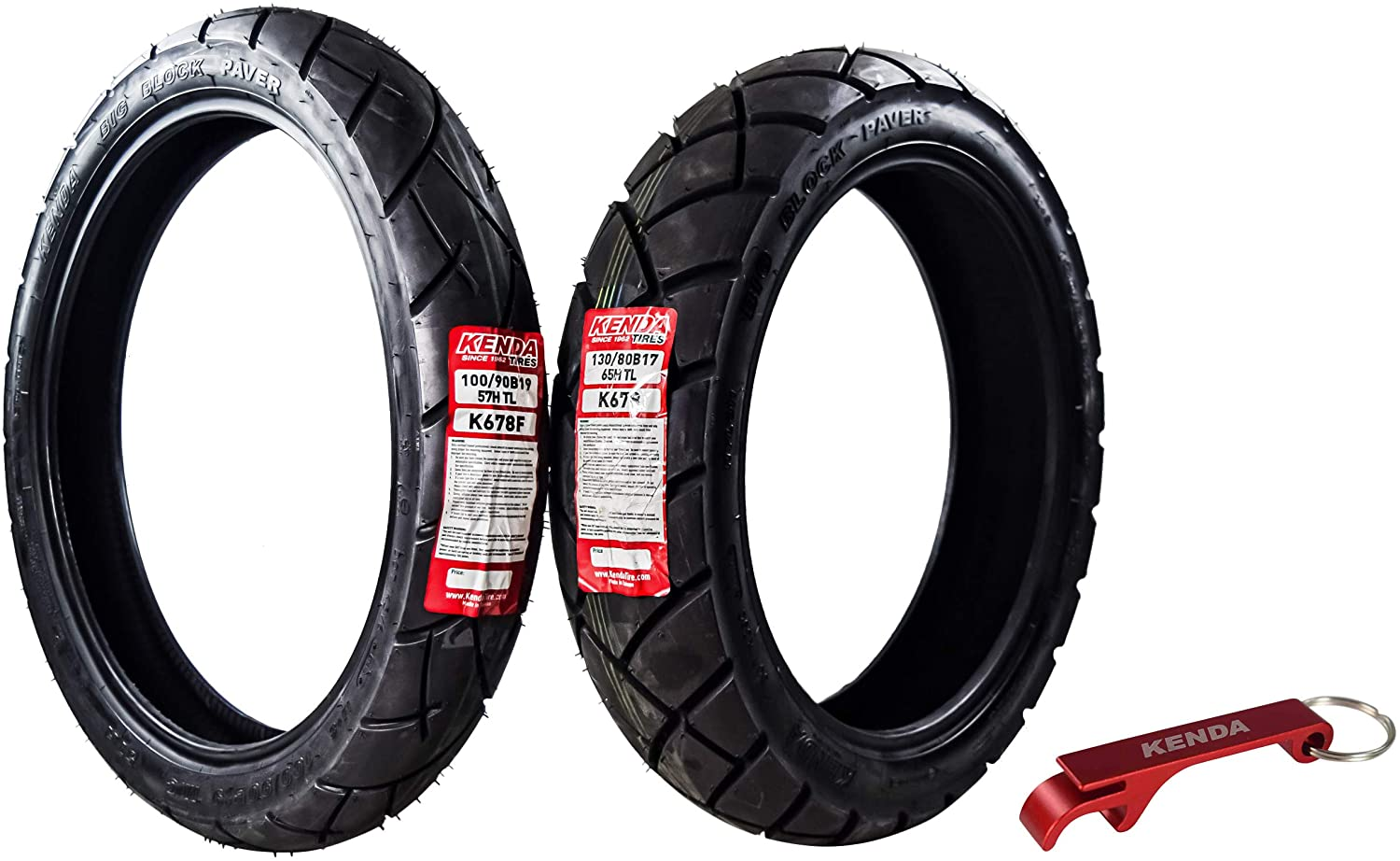 Kenda Big Block Paver Dual Sport Motorcycle Tires 100/90B19 Front 130/80B17 Rear 100/90-19 130/80-17
