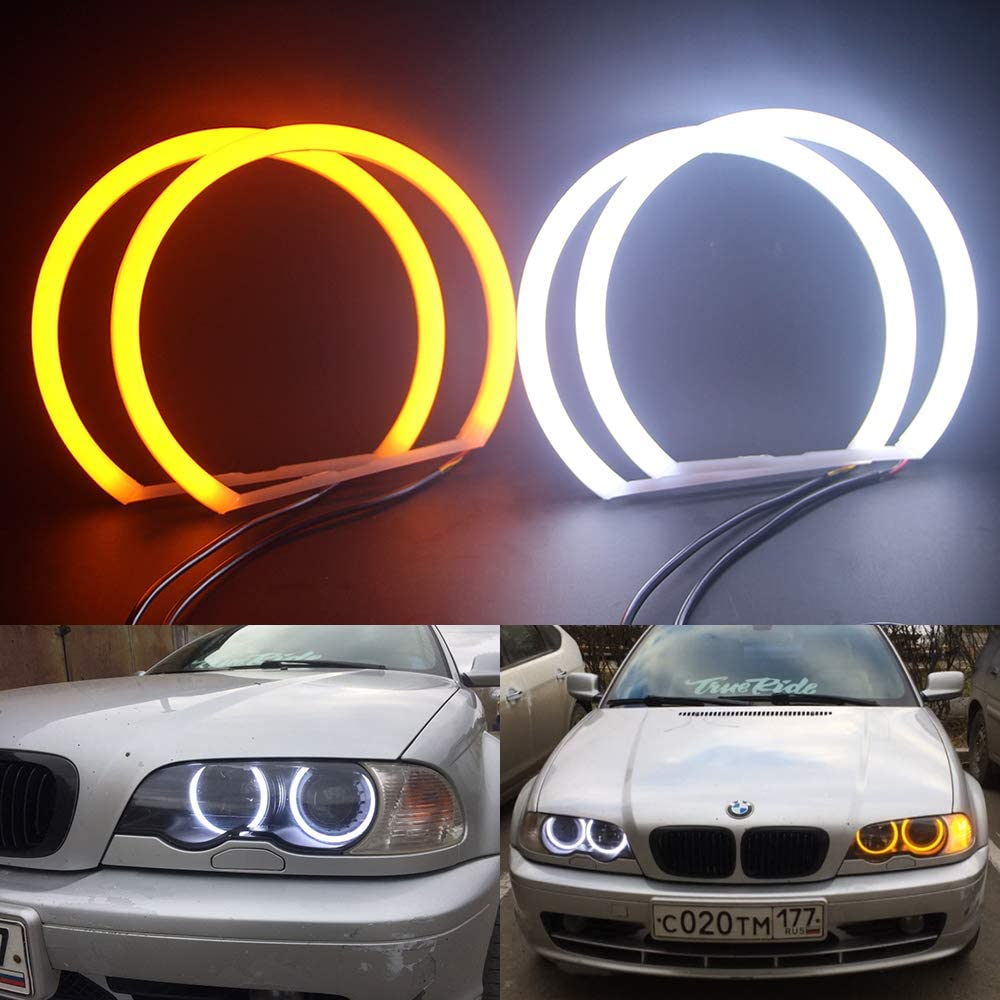 Csslyzl Switchback Dual Color White/Amber 131MM Halo Rings Cotton Light SMD LED Angel Eyes For BMW E36 E38 E39 E46 M3 3,5,7 Series