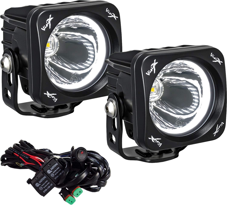 Vision X Lighting (XIL-OPH115KIT) Optimus Square Halo 1, 10W LED, Emark Approved, 15 Degree Narrow, 2 Light Kit, Black