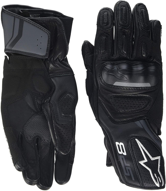Alpinestars Mens SP-8 v2 Leather Motorcycle Glove, Black/Grey, Medium