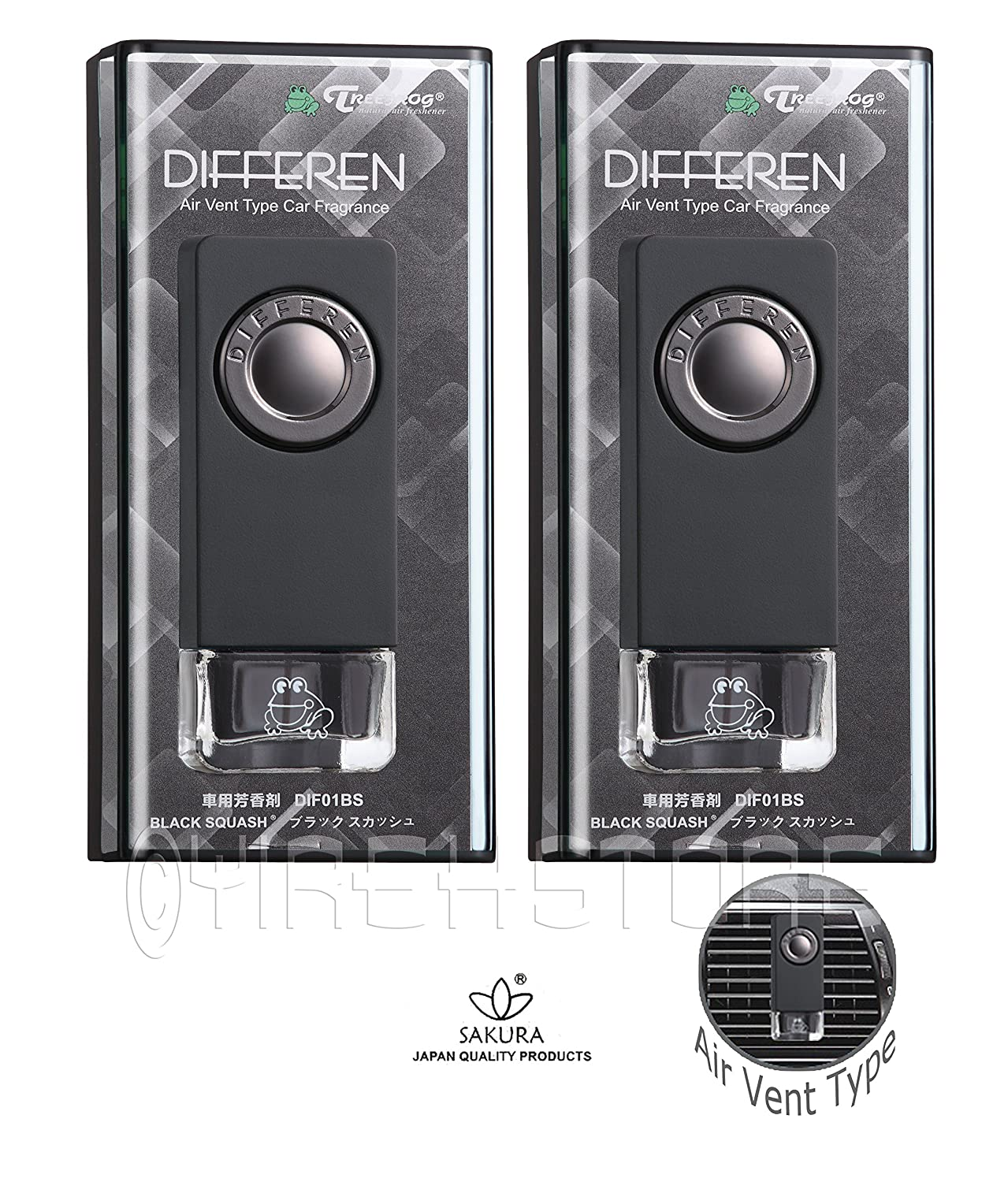2-Pack Differen Luxury Fragrance Vent Clip Car Air Freshener Black Squash Scent
