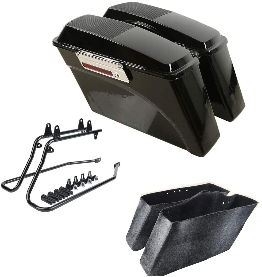 XFMT Hard Saddlebags W/Speaker Lid & Conversion Brackets For Harley Softail 1986-2013