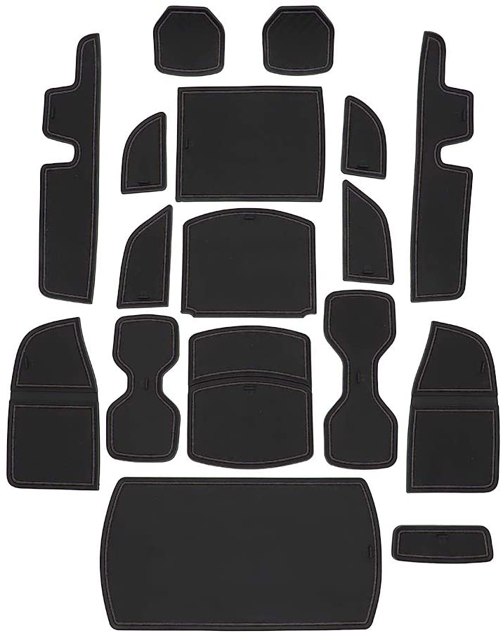 Alpha Rider 17PCS Car Interior Cup Holder Inserts, Center Console Liner Mats, Door Pocket Liners For Honda Accord 2018-2021 Non-Slip Dirty-Proof Dry-proof Dust-proof Black