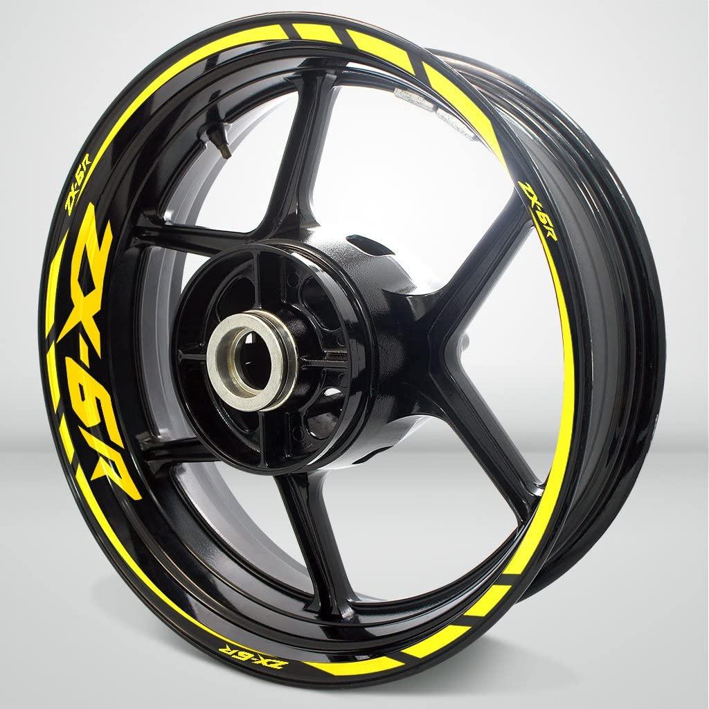 Gloss Yellow Motorcycle Rim Wheel Decal Accessory Sticker for Kawasaki ZX6R