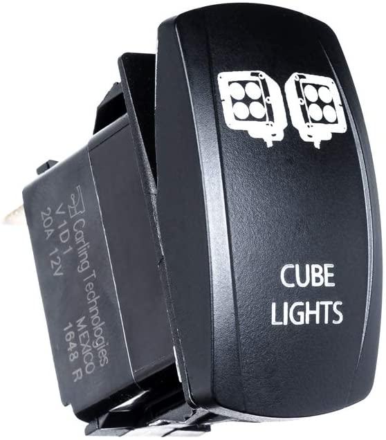 UTV INC Back Lit LED Cube Lights ON/OFF Switch (GREEN)