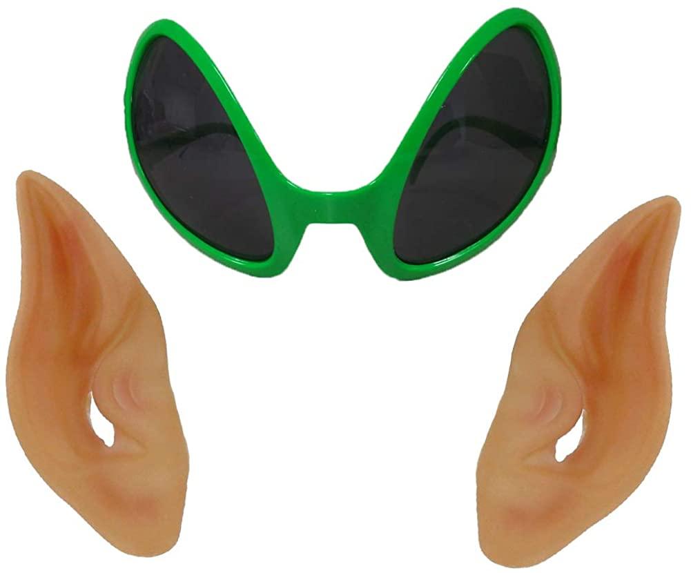NOVELTY GIANT WWW.NOVELTYGIANT.COM Alien Glasses & Latex Pointed Ears Cosplay LARP Prosthetic Beige