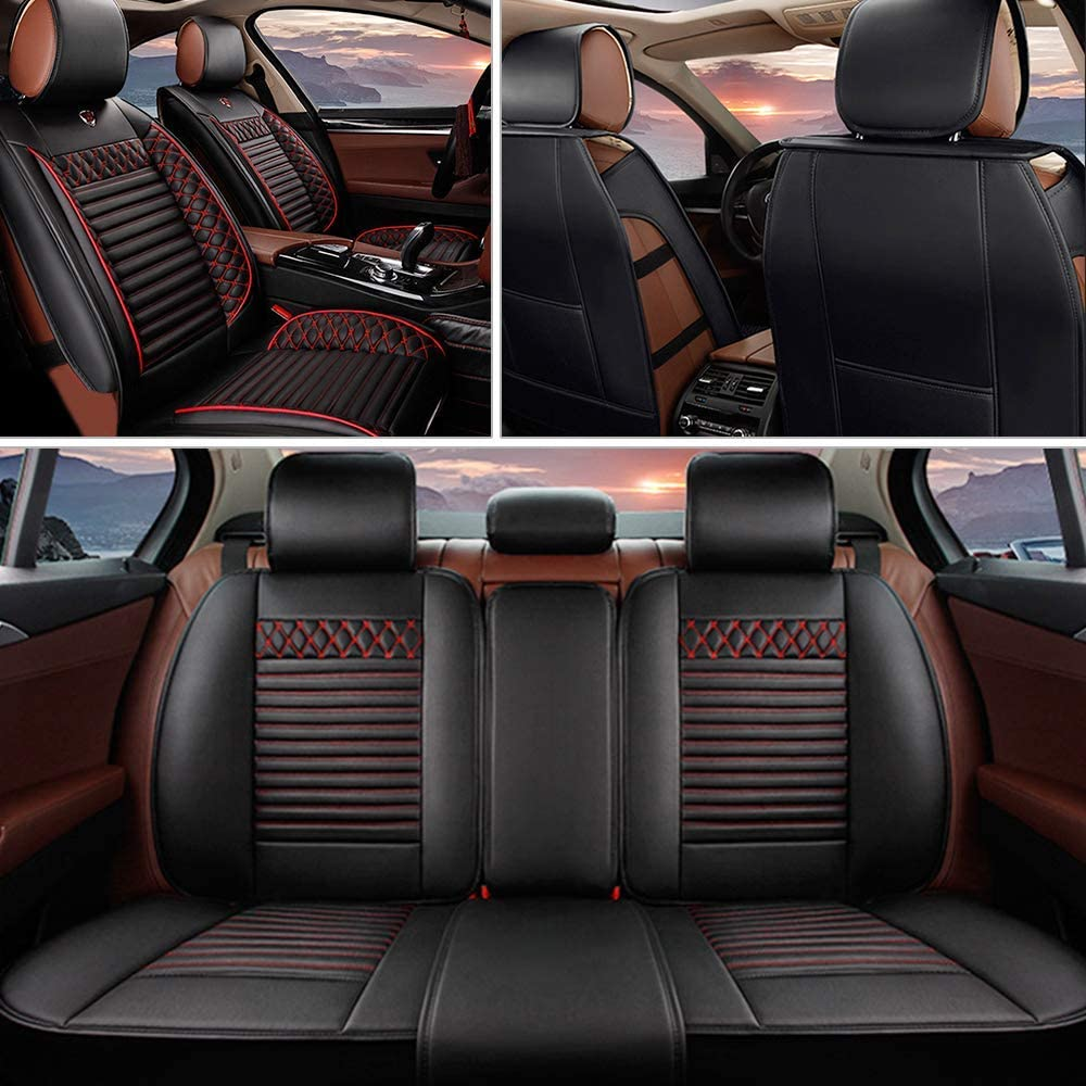 MyGone Car Seat Covers for Kia Rio 2011-2018 Leather Protector, Front + Rear 5 Seat Full Set - Breathable Soft Cushion Waterproof - Universal for Sedan SUV Truck Black Red