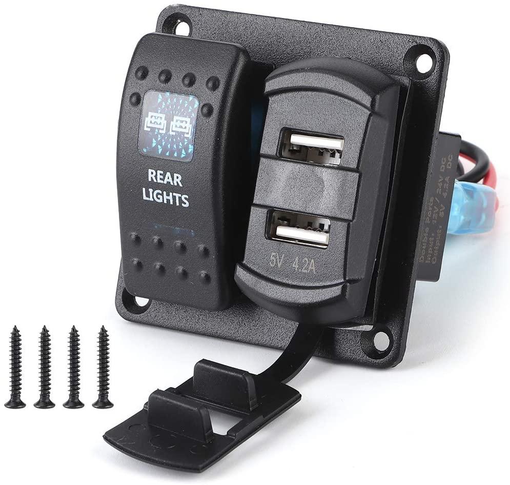 Qiilu Rocker Switch Panel, 12V8209;12V-24V Black IP65 Waterproof 2 Gang Rocker Switch Panel 2 USB with Digital Voltmeter 5PIN Dual Light Switch for Boats Vehicles