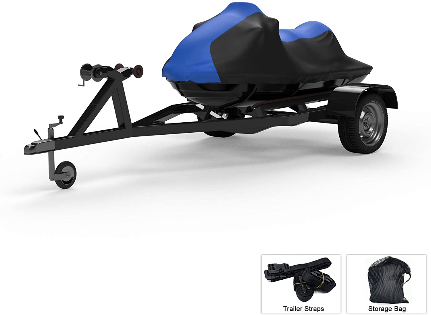 Weatherproof Jet Ski Covers for SEA DOO GTX 155 2010-2019 - Blue/Black Color - All Weather - Trailerable - Protects from Rain, Sun, UV Rays, and More! Includes Trailer Straps and Storage Bag