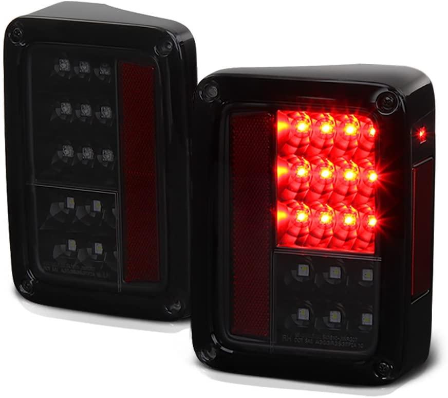 VIPMOTOZ Black Smoke Premium Full-LED Tail Light Housing Lamp Assembly For 2007-2018 Jeep Wrangler JK Driver and Passenger Side Replacement Pair