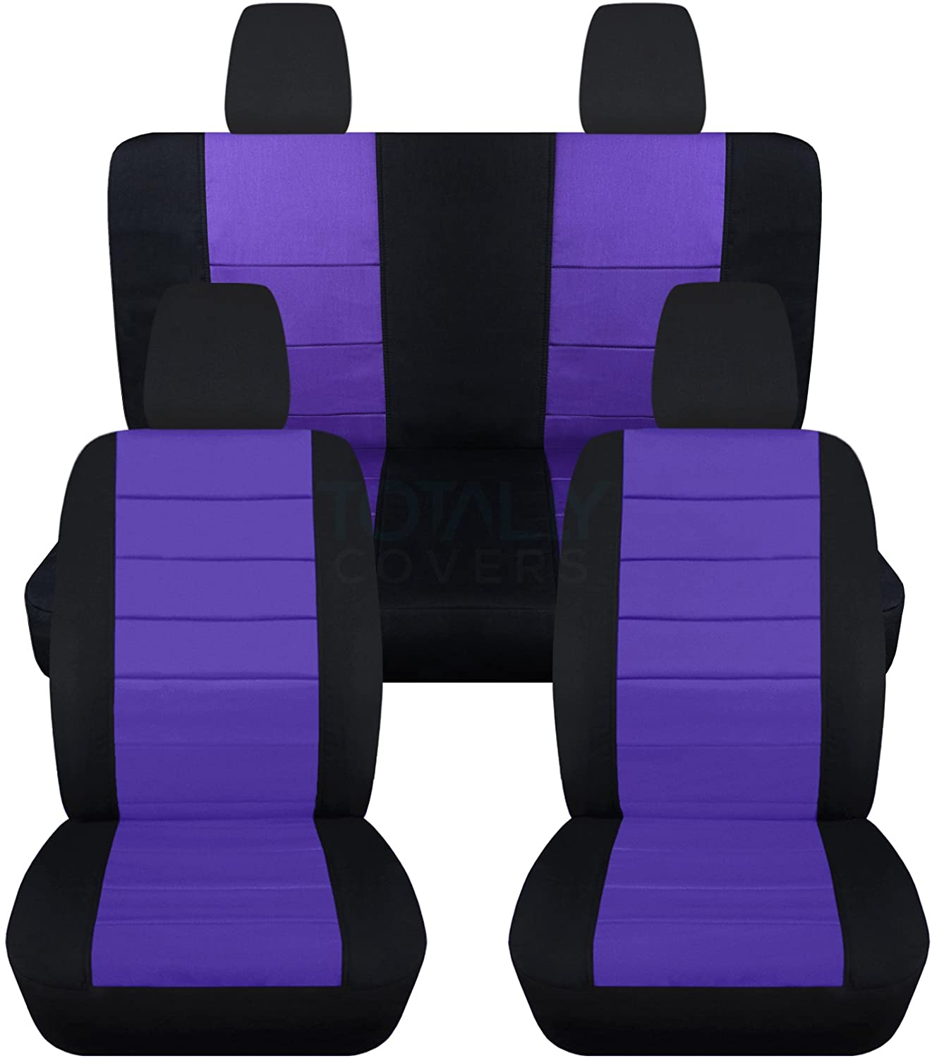Totally Covers Compatible with 2011-2018 Jeep Wrangler JK Seat Covers: Black & Purple - Full Set: Front & Rear (23 Colors) 2-Door/4-Door Complete Back Solid/Split Bench