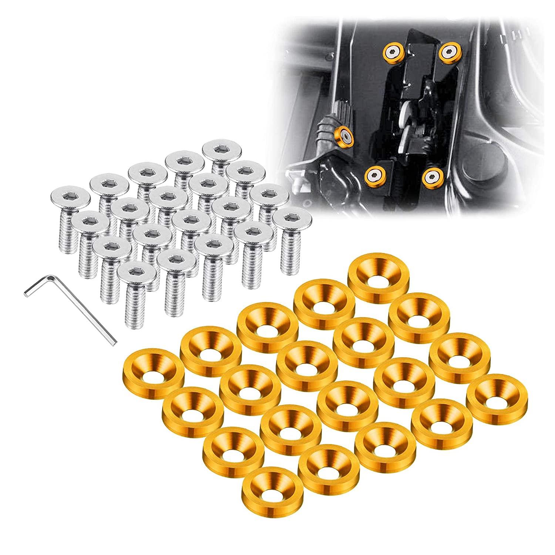 Enmoo 20Pcs Billet Aluminum Fender Bumper Washer Bolt Engine Bay Dress Up Fastener Kit Lisence Plate Decor Bolts M6 Bolt Screw Accessories (Gold)