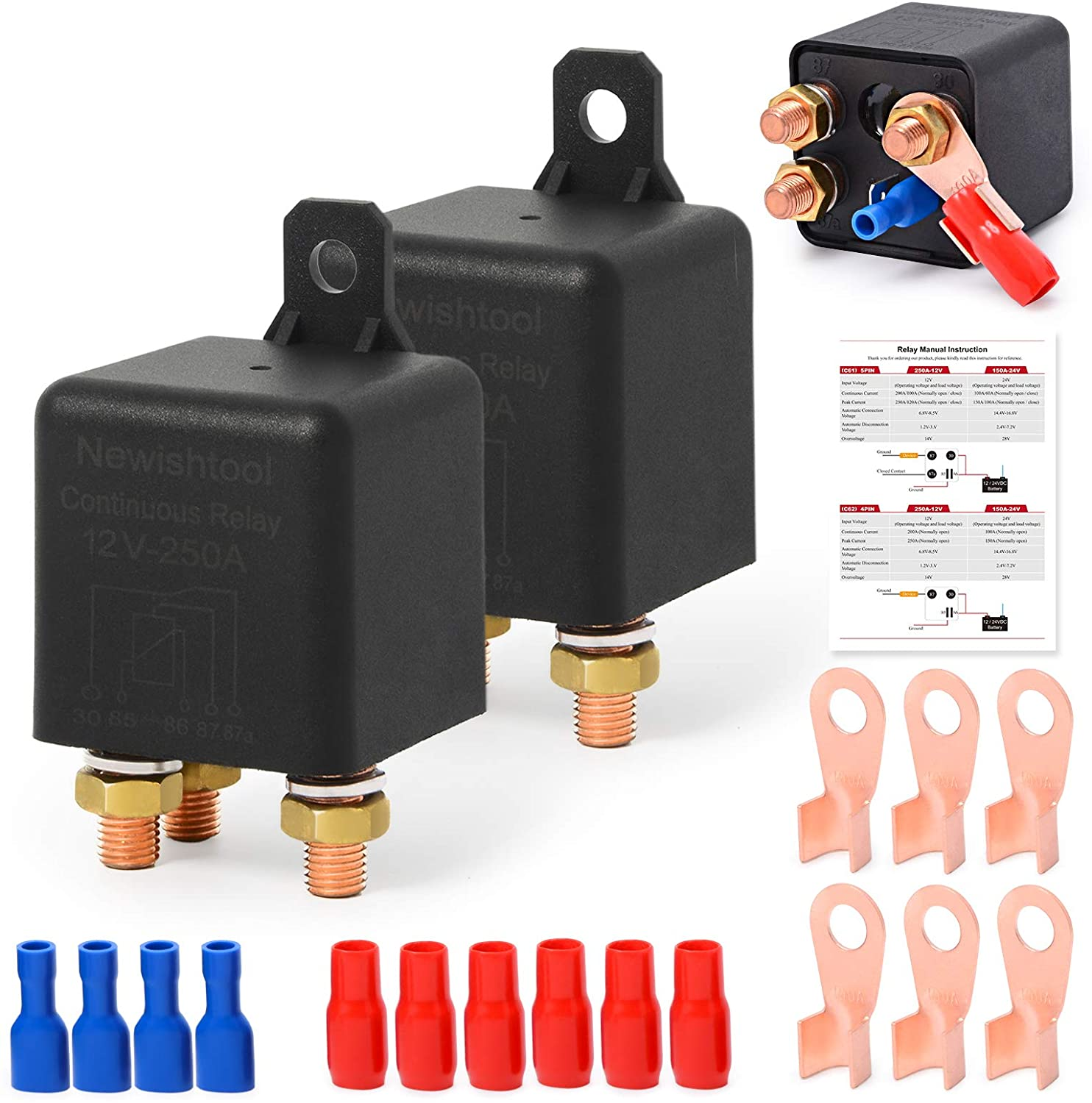 12V 250A Continuous Relay On/Off Power Switcher Automotive Starter Relays for Car Truck Boat Electrical Control, 5 Pin SPDT Split Charger + Heavy Duty Copper Lugs with Boots + Wire Terminal Connectors