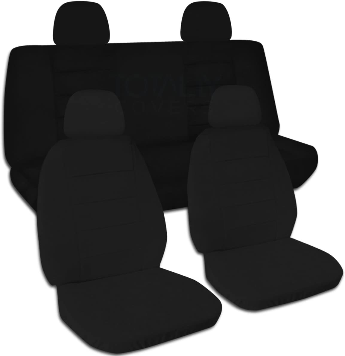 Totally Covers Solid Color Car Seat Covers w 4 (2 Front + 2 Rear) Headrest Covers: Black - Universal Fit - Full Set - Buckets & Bench - Option for Airbag/Seat Belt/Armrest/Lever/Split Compatible