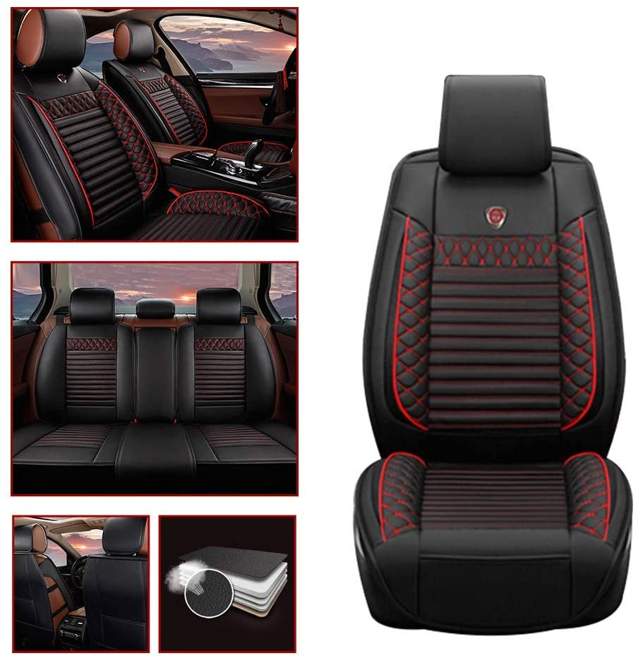 Leather Car Seat Covers For Buick Enclave Leatherette Automotive Vehicle Ultra Comfort Cushion Cover for SEAT Of Driving/Co-pilot/Second Row 5-SEAT Black Red