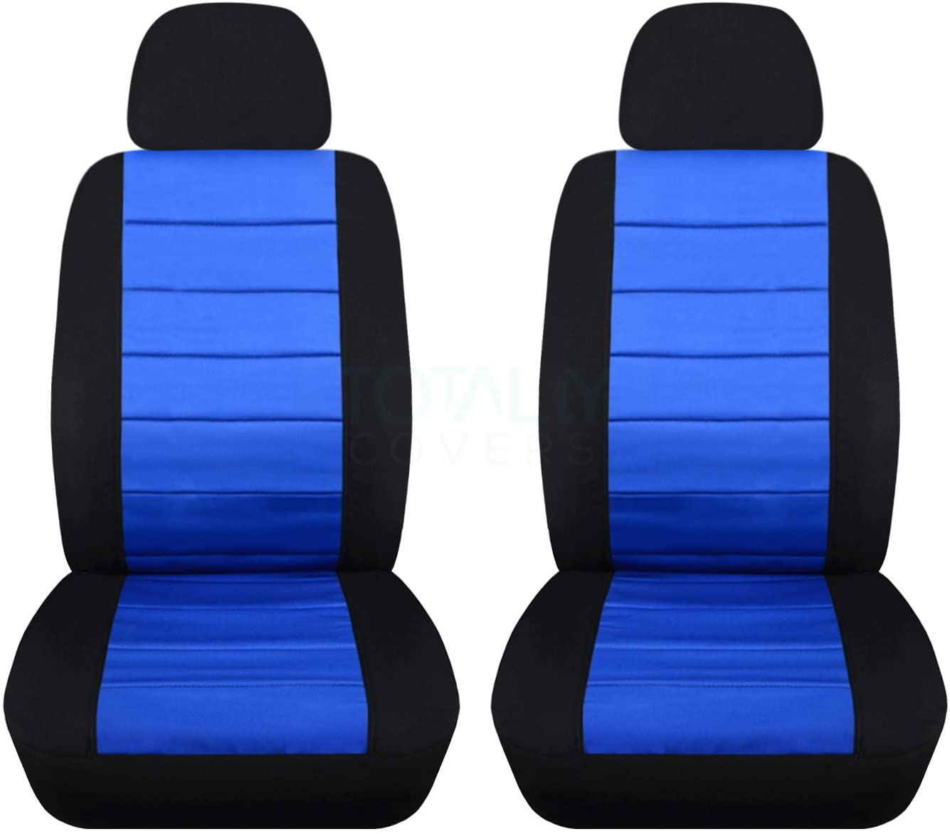 Totally Covers 2-Tone Car Seat Covers w 2 Separate Headrest Covers: Black & Blue - Universal Fit - Front - Buckets - Option for Airbag, Seat Belt, Armrest & Seat Release/Lever Compatible (22 Colors)