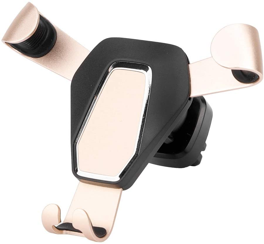 Qii lu Car Auto Universal Mobile Phone Mount Gravity Holder Bracket Stand for universal cars(Gold)