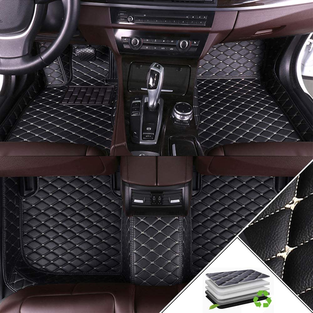 ALLYARD Custom Car Floor Mats for Toyota Camry XV30 2001-2005 All Weather Waterproof Non-Slip Full Covered Protection Advanced Performance Liners Car Liner Black Beige